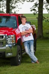 Senior Picture Ideas for Guys - Red Chevy Silverado Duramax Pickup